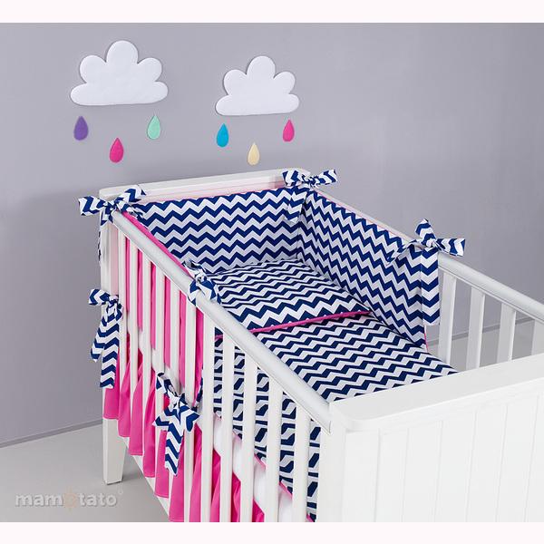 Mantinel + obliečky MT -  ZigZak modrá/ružová