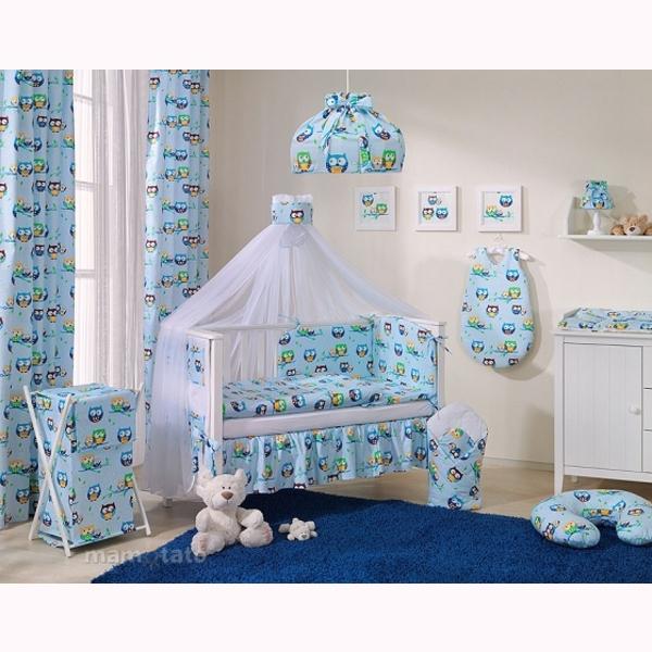 Závesy MT 248x106 - sovičky modrá