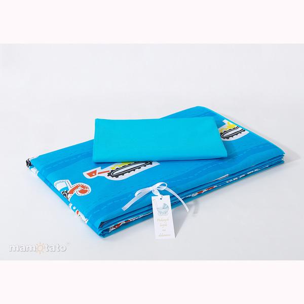 Obliečky do postieľky MT - dopravné prostriedky modrá