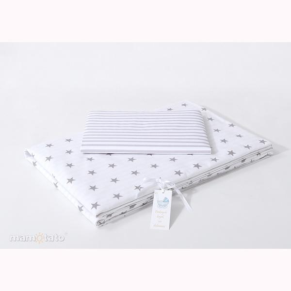 Obliečky do postieľky MT - hviezdičky/pásik šedá