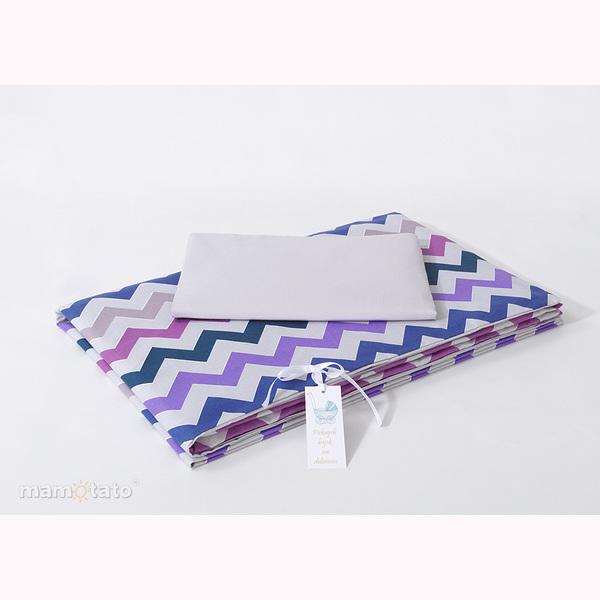Obliečky do postieľky MT - Zig Zak fialová