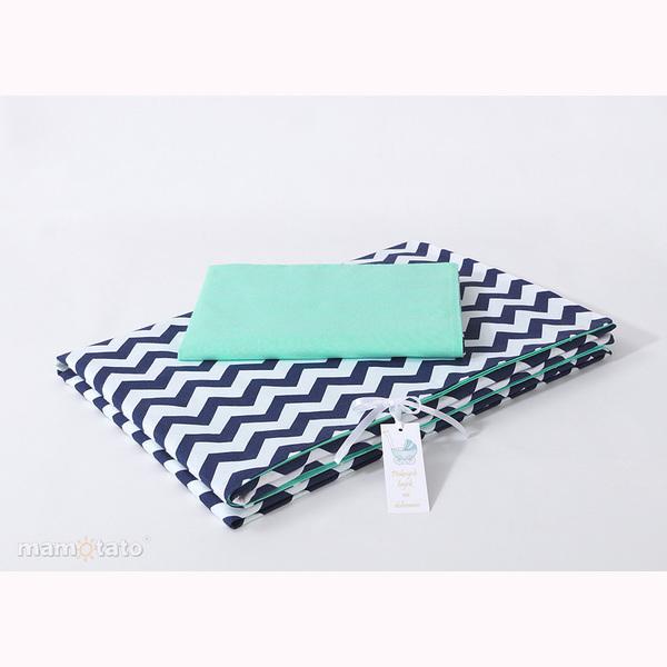 Obliečky do postieľky MT – Zig Zak modro/zelená 1