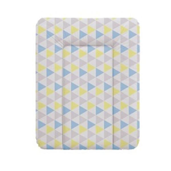 Prebaľovacia podložka Ceba na komodu 50x70, trojuholníky modro - žlté.