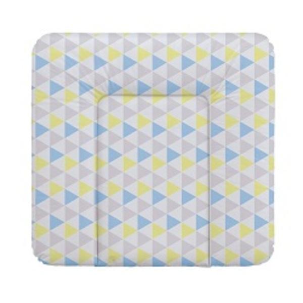 Prebaľovacia podložka Ceba na komodu 75x72, trojuholníky modro - žlté.