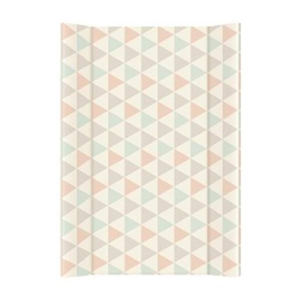 Prebaľovacia podložka Ceba pevná 80 cm, trojuholníčky tyrkysovo – oranžové 1