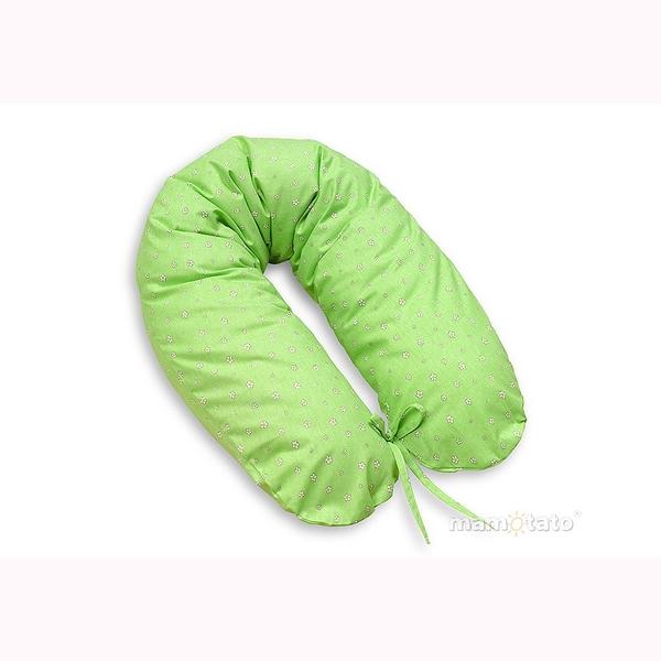 Vankúš na kojenie Mamo-Tato – kvietky zelená 1