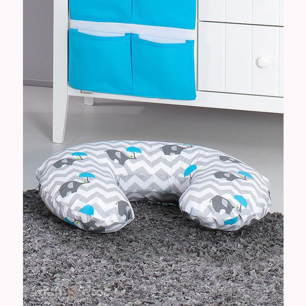 Vankúš na kojenie Mamo-Tato MINI - slony dáždnik modrá