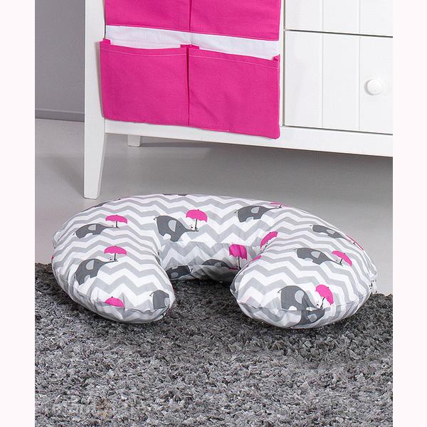 Vankúš na kojenie Mamo-Tato MINI – slony dáždnik ružová 1