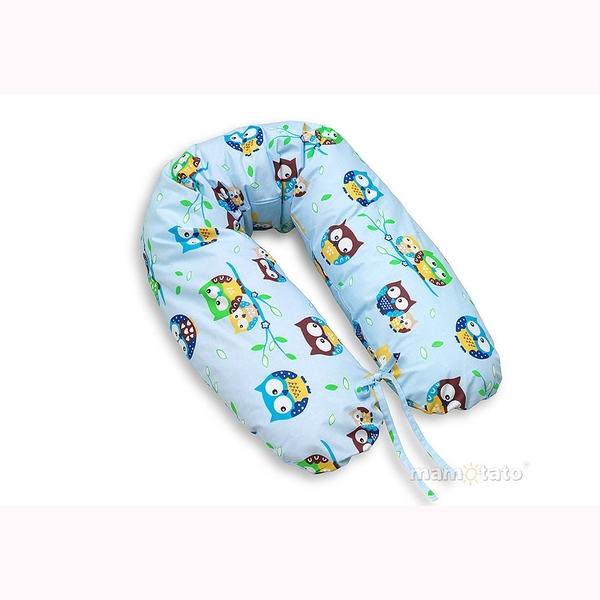 Vankúš na kojenie Mamo-Tato – sovičky modrá 1