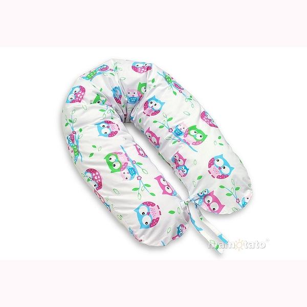 Vankúš na kojenie Mamo-Tato – sovičky ružová 1