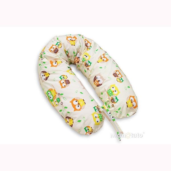 Vankúš na kojenie Mamo-Tato – sovičky smotanová 1
