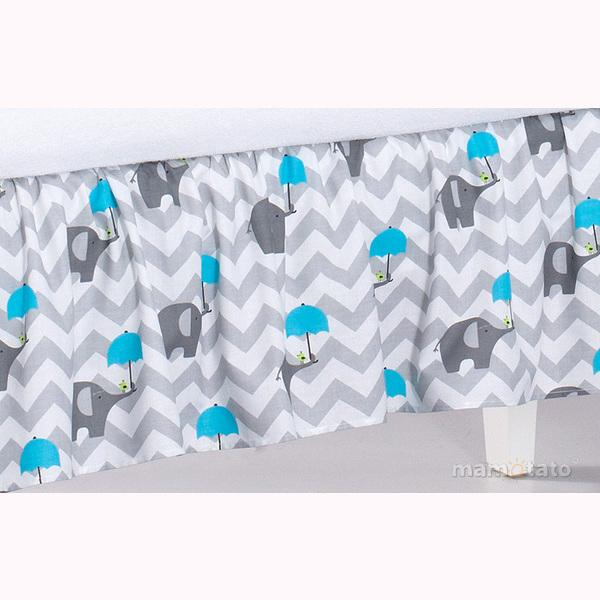 Volán pod matrac MT - slony dáždnik modrá