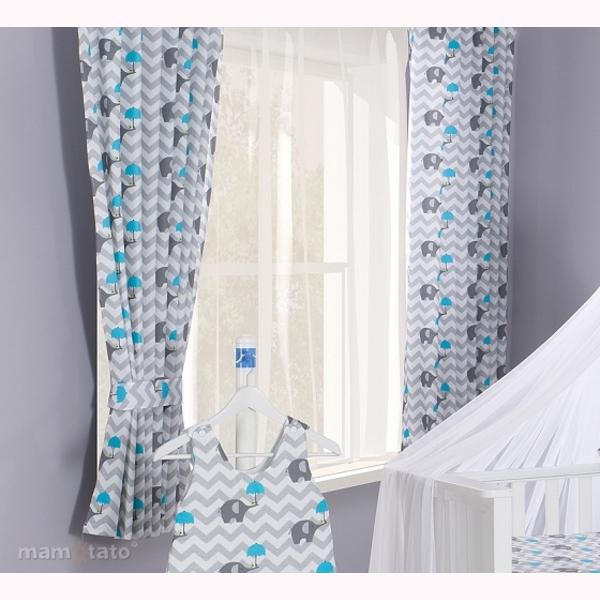 Závesy MT 155x155 - slonik dáždnik modrá