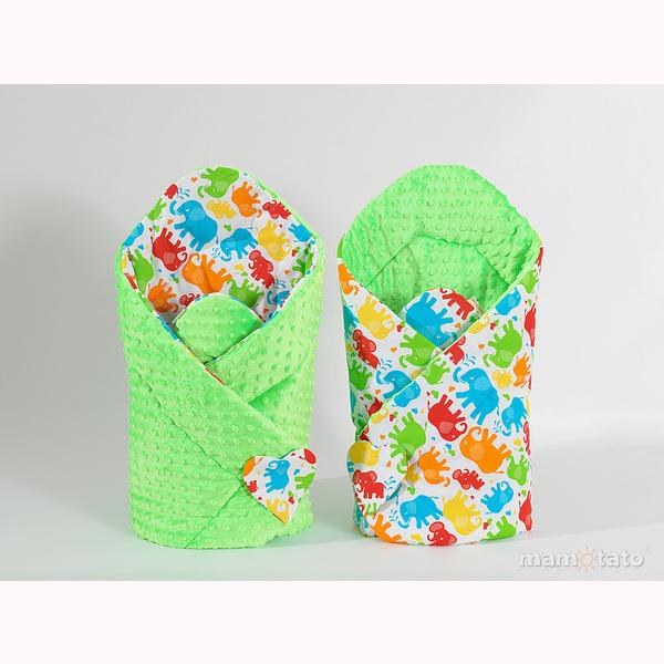 Zavinovačka MINKY - farebné slony zelená