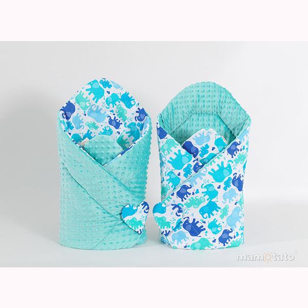 Zavinovačka MINKY - modré slony/modrá