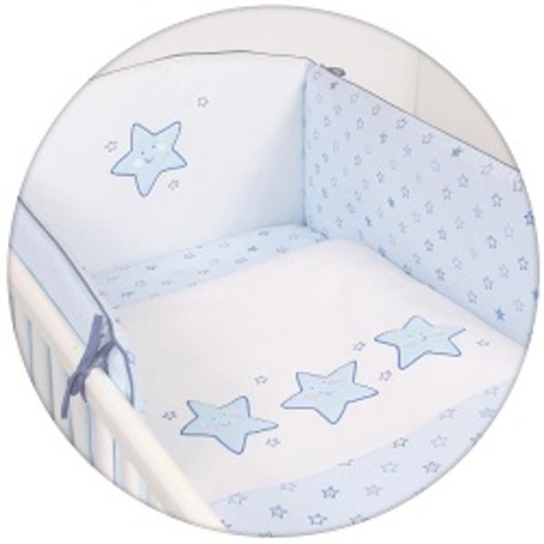 Súprava do postieľky 3-dielna s výšivkou, hviezda modrá.