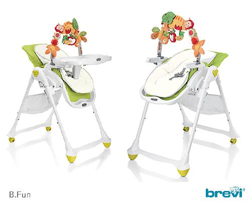 BREVI B-FUN Jedálenská stolička s hrazdičkou 2017 zelená