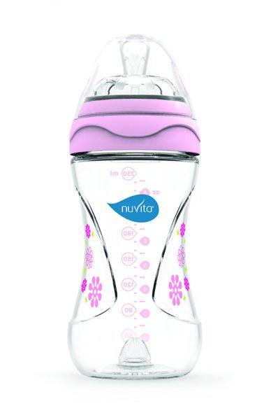 NUVITA Dojčenská fľaša s antikolikovým systémom 250ml ružová