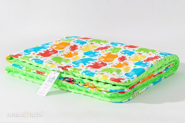 detska-deka-minky-farebneslony-zelena