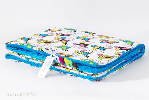 detska-deka-minky-papagaj-modra