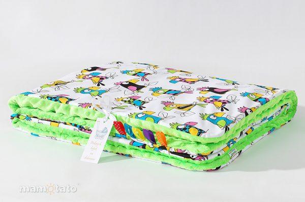 detska-deka-minky-papagaj-zelena