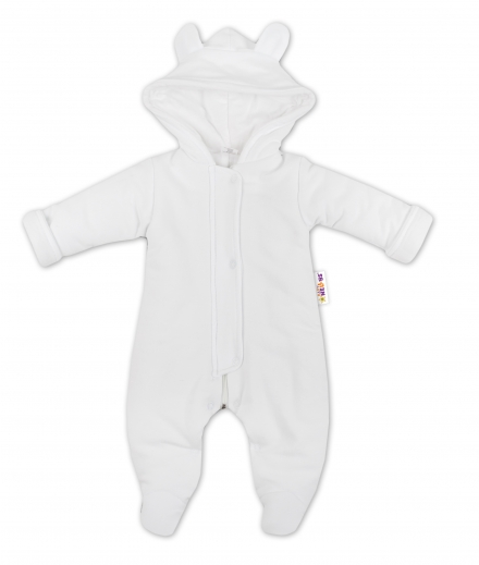 Oteplenie overal kombinézka s kapucňu a uškami Baby Nellys ® – biela
