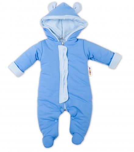 Oteplenie overal kombinézka s kapucňu a uškami Baby Nellys ® – modrá