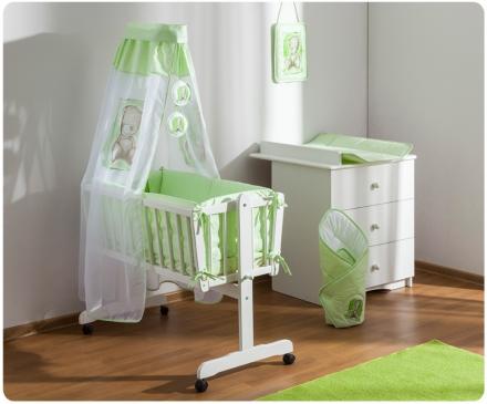 Drevená kolíska s plnou výbavou Sweet Dreams by Teddy – zelená