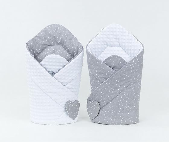 zavinovačka miniky mini hviezdičky šedo biela