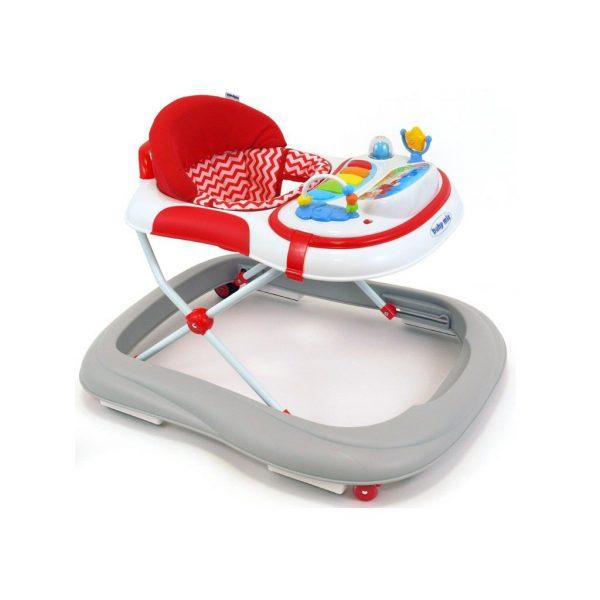 Detské chodítko Baby Mix so silikónovými kolieskami grey-red