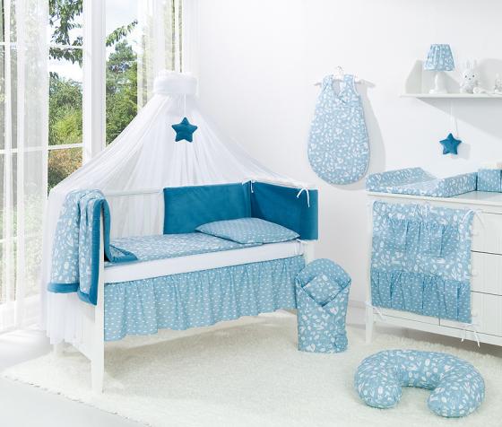Samostatná moskytiéra šifón – biela šerpa modra hviezda