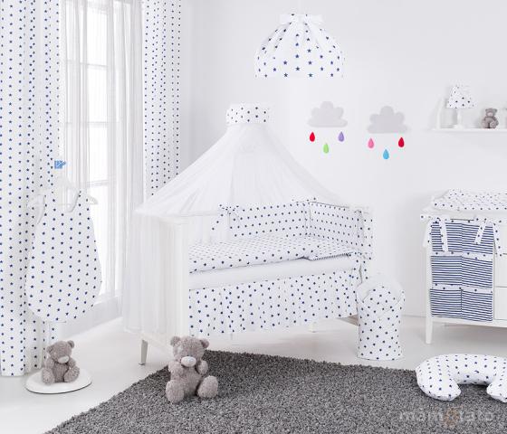 Samostatná moskytiéra šifón – biela šerpa s modrými hviezdami