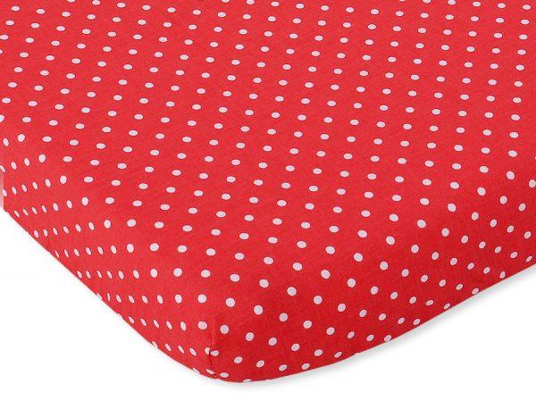 bavlnená plachta červená biele bodky