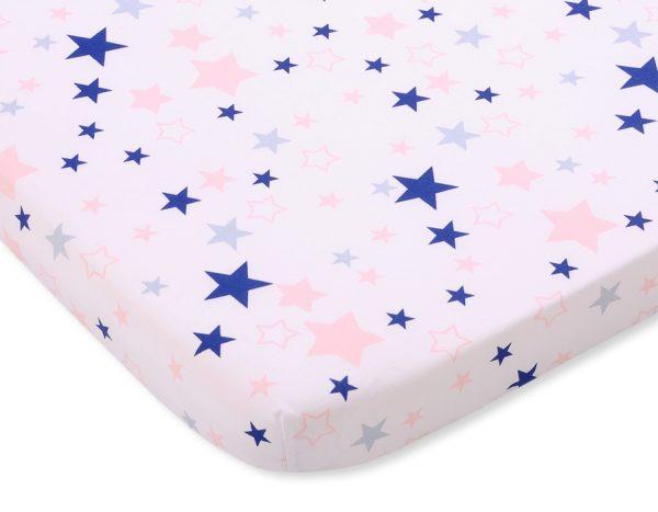 bavlnená plachta biela modro ružové hviezdy