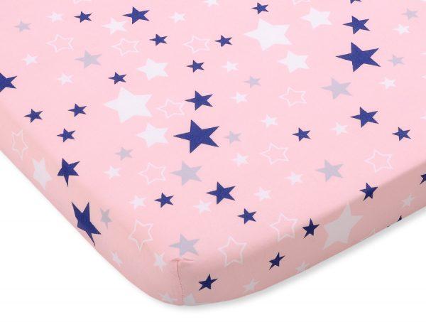 bavlnená plachta ružová modré hviezdy