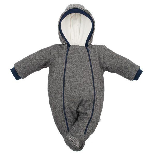 Zimná dojčenská kombinéza s kapucňou Baby Service Retro sivá