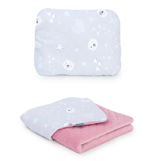 deka + vankúšik velvet medvedík sivá ružová